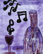 Vino Framed Prints - Music in my Glass Framed Print by Nancy Pace