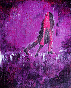 Edgy Paintings - Music Inspired Dancing Tango Couple in Purple Rain Contemporary Lyrical Splattered and Emotional by M Zimmerman
