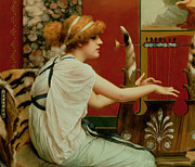 Red Tiger Prints - Music Print by John William Godward