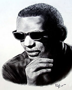 Jim Fitzpatrick Paintings - Music Legend Ray Charles by Jim Fitzpatrick