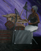 Drums Painting Prints - Music Makes Me Drum Print by Cassandra Allen