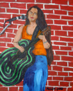 Guitar Painting Originals - Music Makes Me Guitar by Cassandra Allen