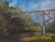 Iowa City Framed Prints - Music Man Bridge-Plein air Framed Print by Sandra Quintus