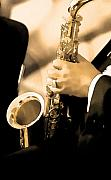 Quartet Digital Art Posters - Music Man Saxophone 1 Poster by Linda  Parker