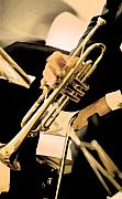 Quartet Metal Prints - Music Man Trumpet Metal Print by Linda  Parker