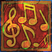 Music Note Posters - Music Notes Abstract Poster by David G Paul
