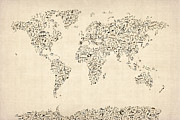 Music Map Prints - Music Notes Map of the World Map Print by Michael Tompsett