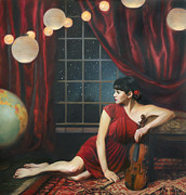 Violins Paintings - Music of the Spheres by Anna Bain