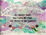 Uplifting Mixed Media Prints - Music of the Spheres Print by Carla Parris