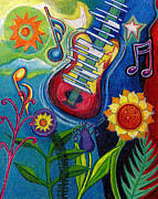 Fine Art Original Prints - Music On Flowers Print by Genevieve Esson