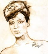 Rihanna Drawings - Music Queen by Anshu Kaulitz