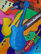 Guitar Drawings Posters - Music Poster by Tammy Dunn