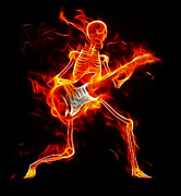 Guitar On Fire Posters - Music to the Death Poster by Pamela Johnson