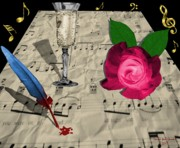 Champagne Posters - Music Wine and Roses Poster by Tanya Van Gorder