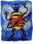 Guitarist Art - Musical Bee by Russell Pierce