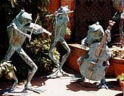 Amphibians Sculptures - Musical Frog Trio by Beau Smith