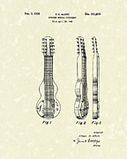 Antique Drawings - Musical Instrument 1950 Patent Art  by Prior Art Design