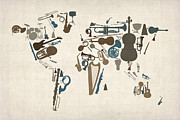 Music Art Framed Prints - Musical Instruments Map of the World Map Framed Print by Michael Tompsett