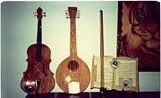 Wood Wall Hangings Prints - Musical Instruments Print by Val Oconnor