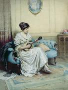 White Dress Painting Prints - Musical interlude Print by William Kay Blacklock