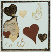 Home Decor Posters Mixed Media Posters - Musical Love - Tan Hearts Poster by Alison Quine
