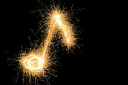 Vibrant Metal Prints - Musical Note Drawn With A Sparkler Metal Print by Martin Diebel