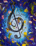 Music Notes Posters - Musical Party Poster by Paul Bartoszek