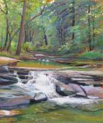 Waterfall Pastels Originals - Musical Waters by Marsha Savage