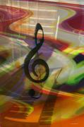 Music Inspired Art Prints - Musical Waves Print by Linda Sannuti