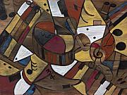 Drums Paintings - Musicality in Brown by Nadine Rippelmeyer