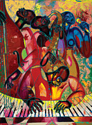 Figurative Painting Posters - MusicFest Poster by Larry Poncho Brown
