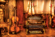 Music Instruments Posters - Musician - The Violin and the Accordian Poster by Mike Savad
