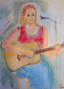 Print On Canvas Pastels Posters - Musician Poster by Karen Francis