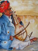Hindu Drawings Posters - Musician of India Poster by Myra Evans