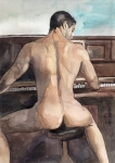 Nude Man Painting Prints - Musician Print by Yuliya Podlinnova