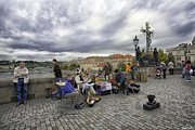 Charles Bridge Photo Acrylic Prints - Musicians on the Charles Bridge - Prague Acrylic Print by Madeline Ellis