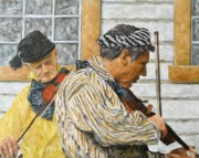 Rural Life Paintings - Musicians by Richard T Pranke