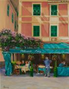 Italian Mediterranean Art Paintings - Musicians Stroll In Portofino by Charlotte Blanchard