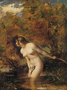 Woman Of The Forest Framed Prints - Musidora  The Bather at the Doubtful Breeze Alarmed Framed Print by William Etty