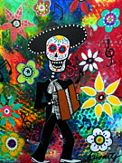 Day Of The Dead Prints - Musikero Dia De Los Muertos Print by Pristine Cartera Turkus