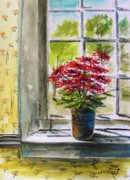 Gerbera Drawings - Musing-Gerberas at the Window by John  Williams