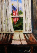 Red White And Blue Drawings - Musing-Glory Through the Window by John  Williams