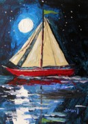 Sea Moon Full Moon Drawings Prints - Musing-Midnight Sail Print by John  Williams
