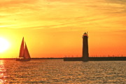 Lighthouse Art - Muskegon Sunset by Michael Peychich
