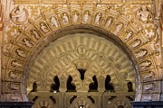 Christian Artwork Photo Metal Prints - Muslim Arch with Christian Reliefs in Mezquita Metal Print by Artur Bogacki