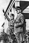 Adolf Framed Prints - Mussolini And Hitler Together Framed Print by Everett