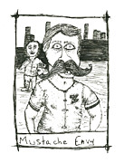Mustaches Drawings Prints - Mustache Envy Print by Michael Mooney