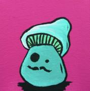 Mustache Zombie Mushroom Print by Jera Sky