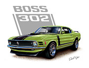 David Kyte Posters - Mustang Boss 302 Grabber Green Poster by David Kyte