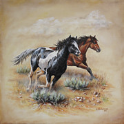 Wild Horses Painting Prints - Mustang Glory Print by Kim Lockman